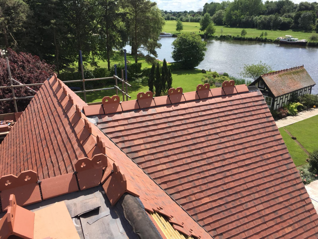 red sloping roof